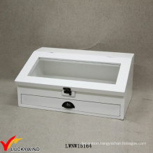 White Decorative Slanted Glass Top Wooden Box