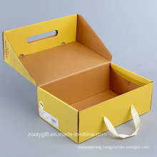 Customize Foldable Corrugated Paper Shoes Packing Box with Handle