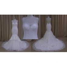 Overlace sereia vestido de noiva frisado vestido de noiva