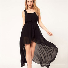 Sexy unregelmäßiger Strand Hem Sundress Maxi Chiffon-Mädchen-Kleid
