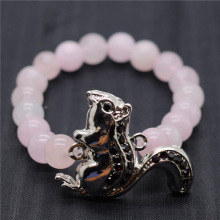 Rose Quartz 8MM Round Beads Stretch Gemstone Bracelet with Diamante alloy squirrel Piece