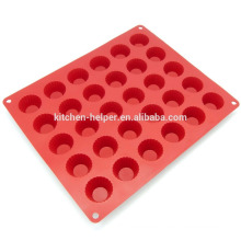 China Profesional Fabricante Alimentos Grado 30 Cavidad Cake Herramientas Calor Resistente Silicona Mini Cake Mold