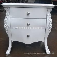 Mesa de cabeceira de madeira branca de estilo europeu XYN84