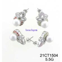 Bijoux-CZ en argent perle boucles d'oreilles (21CT 1504)