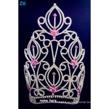 Hermoso granito de diamantes de imitación de gran belleza corona con el cristal de color rosa, corona de flores de color rosa nupcial, tiaras nombre personalizado