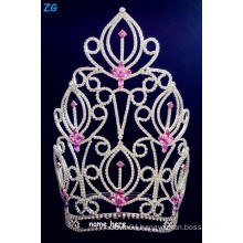 Gorgeous rhinestone large beauty pageant crowns with pink crystal, pink crystal bridal flower crown, customized name tiaras