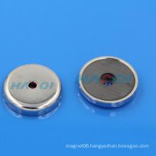 permanet ferrite round base ceramic magnet hole