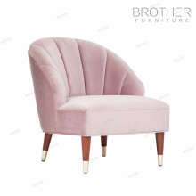Tissu rose moderne de style américain capitonné chaise en bois simple de sofa avec le haut arrière