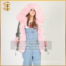 New Style Custom Cheap Brand Faux Hooded Fox Fur Parka