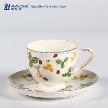 Gute Transmission Glanz Porzellan Knochen China Silikon Kaffeetasse Inhaber und Untertasse für Vending
