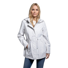 Women rain coat stripe print