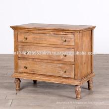 Antiquité en bois massif Mango lavage blanc 3 tiroirs chambre à coucher Dresser