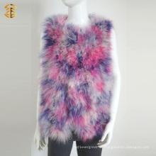Dame Frauen Fashion Real Feather Pelz Weste Stricken Pelz Gilet