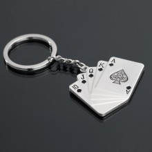 Portaast Hot Selling Portachiavi Metal Keychain Poker
