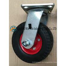 Rueda sólida del echador de la espuma de la PU de 6 pulgadas con el soporte del eslabón giratorio