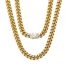 Wholesale 6mm-14mm Custom Stainless Steel Jewelry Gold Plated  Cuban Necklace White Zircon Micro Inlaid Lock Encryption Chain