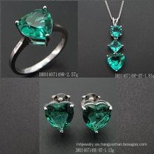 Heart Shape Fashion Green Spinel Jewelry Set