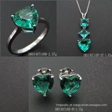 Heart Shape Fashion Green Spinel Jewelry Set