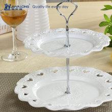 Forme ronde Forme de fleurs Pure céramique blanche Deux couches Assiette de fruits, assiette de gâteau aux fruits pour la fête