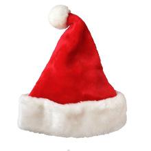 Factory fabric design plush fur red colored velvet baby  Santa Claus Xms Christmas Claus Santa Hat