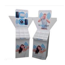 Soporte de visualización de papel con compartimiento, estante de cartón