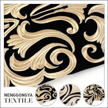 Design clássico bordado tecido de veludo puro para a roupa