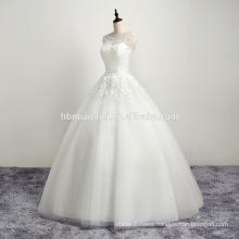 2016 white Elegant crochet Sleeveless lace wedding dress for bridal
