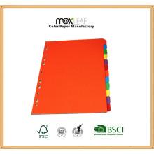 Diviseur de papier couleur de 160GSM A4 personnalisé