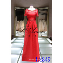 1A849 Mãe da Noiva Sheer Back Red Satin Beading Evening Dress