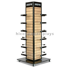Slatwall Wooden Panel Acrylic Holder 4-Way Rack Lazy Susan Wooden Commercial Shoe Rack Display