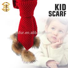 Späteste Entwurfs-Dame Animals Pom Pom Schal Großhandel Custom Wolle Stricken Häkeln Baby Schal