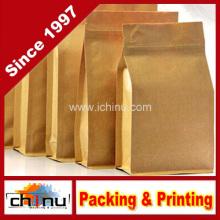 Bolsa de papel personalizada de azúcar de café de harina de Kraft blanca con impresión del cliente (220110)