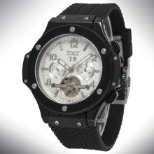 Mens Automatic Silicone Tourbillon Montre bracelet