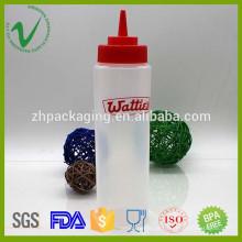 LDPE por atacado embalagem de molho de cilindro barato garrafa de espremedor de ketchup de plástico com tampa anti-derramamento