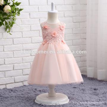 2017 новое прибытие розовый, белый и крем цвет цветок девушка платье с коротким дизайн красочные ажурные паффи девочка свадебное платье