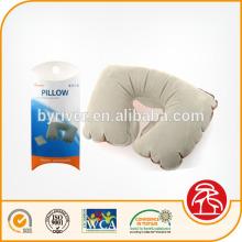 PVC flocado inflável travesseiro de pescoço de corpo de viagem