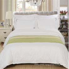 Hotel White CVC 80 Cotton 20 Polyester Sateen Bedding Set