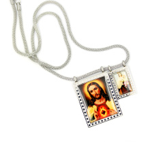 """Christ Style Jesus Image Charm Pendant 18"""" Silver Polo Chain Stainless Steel Cross Prayer Rosary Link Chain Necklace"""