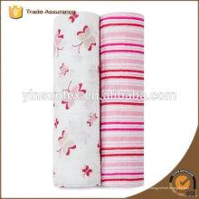 100 Bio-Baumwoll-Babydecke rosa Streifen niedriger Preis für Neugeborenes Baby