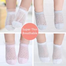 Высококачественные оптовые летние ультратонкие детские белые кружевные дышащие носки с сеткой для новорожденных