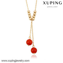 43201 Xuping new designed gold plated bead necklace