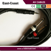 """High performance 3.5mm stereo to 2X1/4"""" Mono Plug Audio cables"""