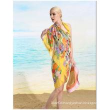 Oblong Silk Chiffon UV Protect Beach Towel
