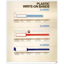 o plástico descartável da fita da identificação do rosa do hospital escreve em bandas da identificação das faixas