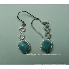 Pendientes de plata esterlina de Larimar natural (E0164)