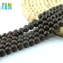 L-0572 4-10mm Snowflake Smooth Round Brown Natural Gemstone Beads for DIY