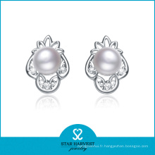 Rhodié plaqué conceptions de boucle d'oreille de perle de Saint-Valentin (E-0144)