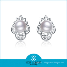 Rhodium Plated Valentine′s Day Pearl Earring Designs (E-0144)