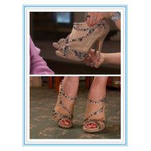 Latest Style Nude Peep Toe High Heel Shoe Bridal Shoes(WS-5002)