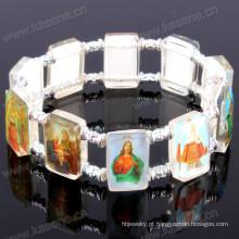 Devotional Saint Pictures Pulseira religiosa de plástico branco